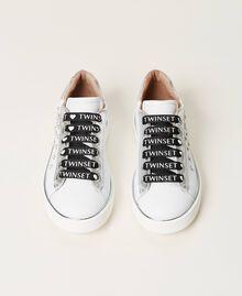 Sneakers de piel con cuentas Hueso Niño 211GCJ060-05
