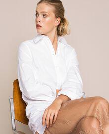 Robe chemisier en popeline et dentelle Bicolore Blanc Optique / Marron Clair Femme 201ST2028-0T