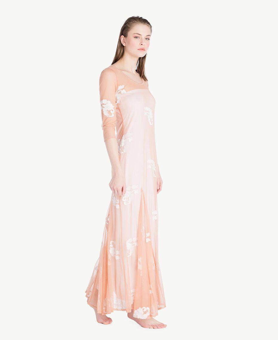 Langes Kleid mit Stickerei Elfenbein Frau MS8BJJ-03