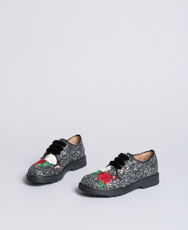 Embroidered lace-up shoes with glitter Bicolour Black / Silver Glitter Child HA88C5-03