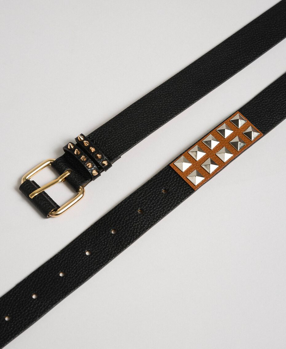 Studded leather belt, regular Black / Leather Woman 192TA4305-02