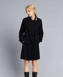 Manteau en drap avec broderie Noir Femme SA82RD-01
