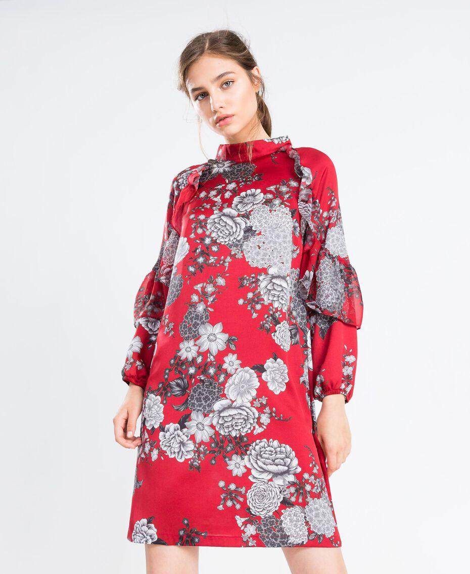 """Kleid aus Twill mit Blumenprint Print """"Blume"""" Rotbraun Frau LA8KSS-02"""