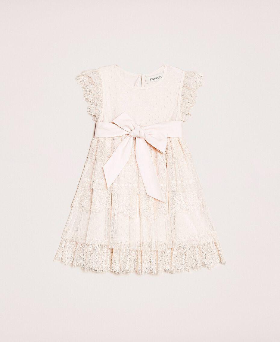 Kleid aus Tüll und Spitze mit Volants Blütenknospenrosa Kind 201GB2Q8A-01