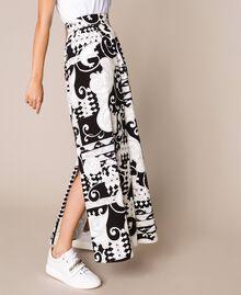 Jupe longue en toile imprimée Imprimé Liberty Blanc / Noir Femme 201ST213A-03