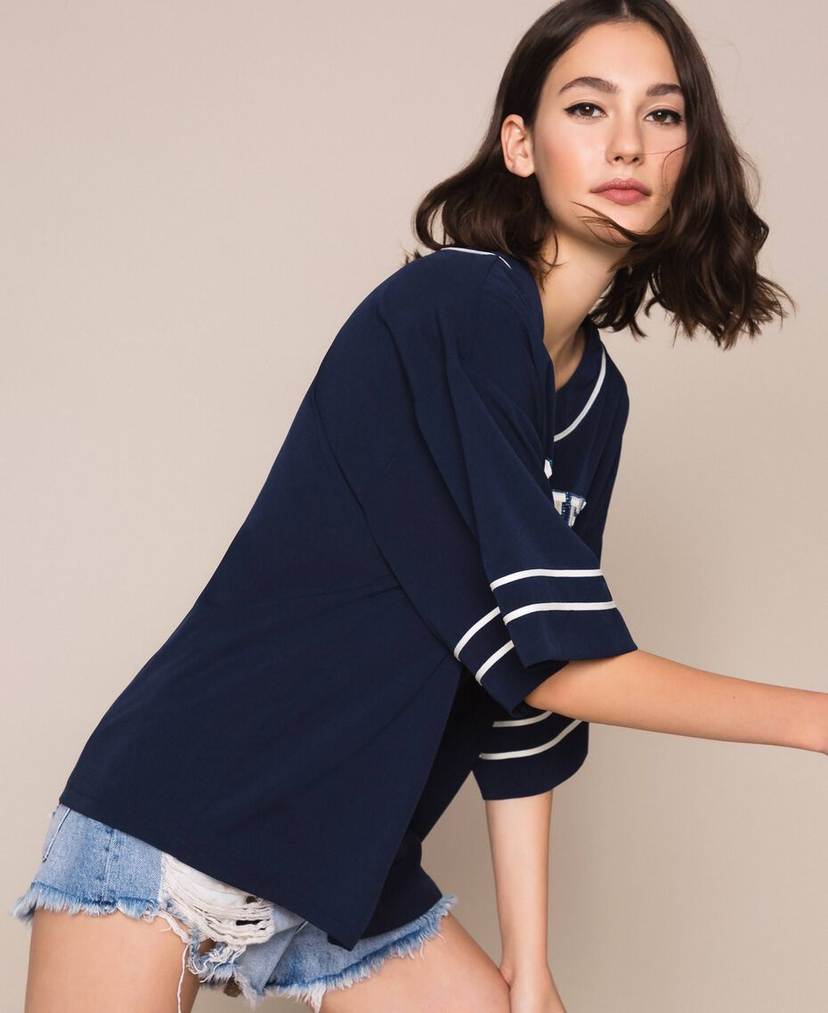 Blusa in crêpe de Chine con ricamo Indaco Donna 201MP2082-02