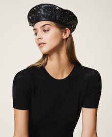 Faux leather beret with mixed studs Black Woman 202TA4452-0S