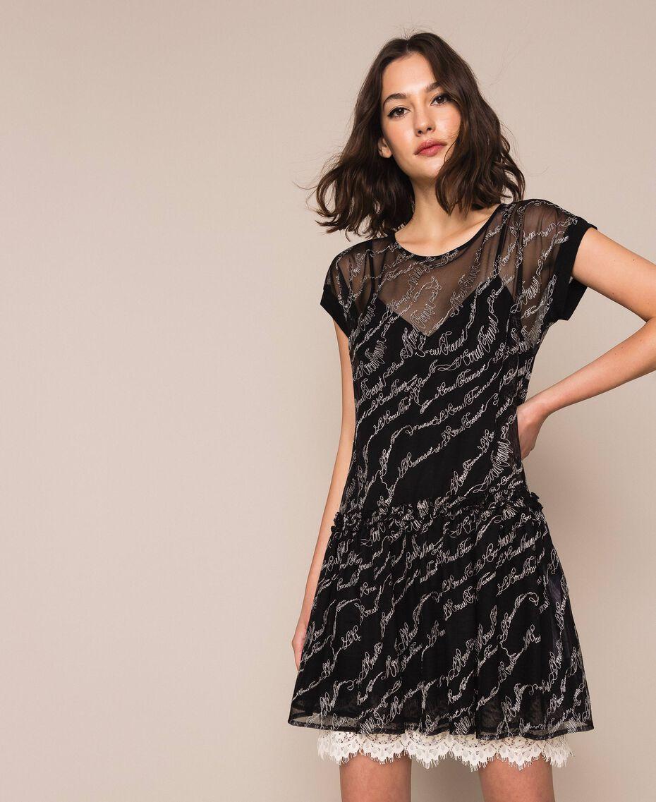 Платье из тюля с вышивкой логотипа Черный женщина 201ST2041-02