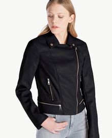Faux leather biker jacket Black Woman JS82CC-04