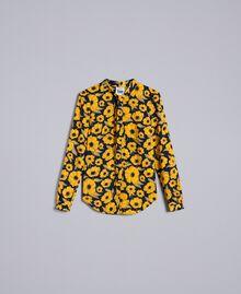 "Camicia in crêpe de Chine stampata Stampa Wind Flower Giallo ""Golden Yellow"" / Blu Donna YA82FV-0S"