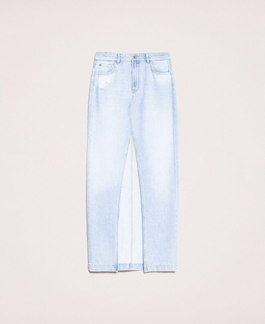 Long denim skirt Denim Blue Woman 201MP2282-0S