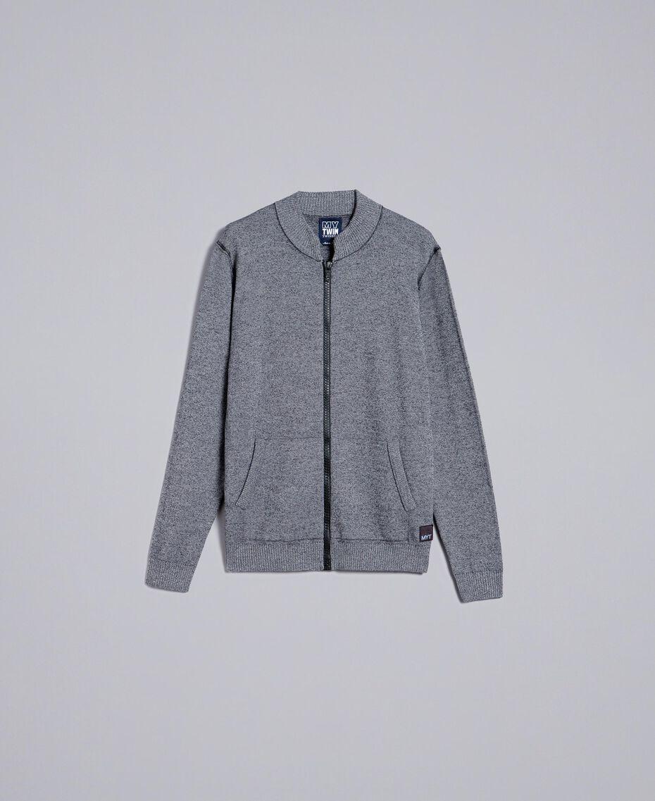 Cardigan aus Baumwolle und Wolle mit Reißverschluss Zweifarbig Mattweiß / Schwarz Mann UA83BA-0S
