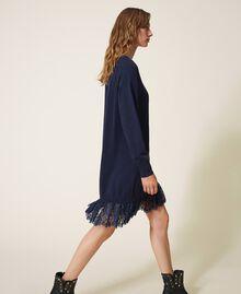 Knitted dress with lace hem Blackout Blue Woman 202LI3RFF-03