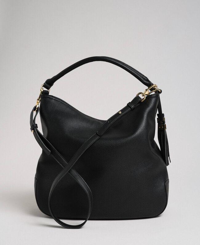 Sac hobo en similicuir avec pompons décoratifs Noir Femme 192TA7142-04