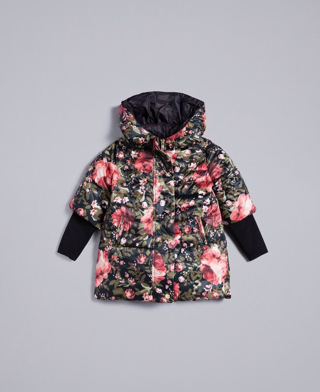 Printed nylon padded jacket Black with Pink Rose Print Child FA82AR-01