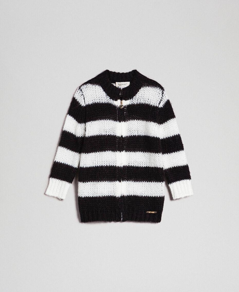 Zweifarbig gestreifter Cardigan aus Mohair Jacquard Streifen Schwarz / Off White Kind 192GB3130-01