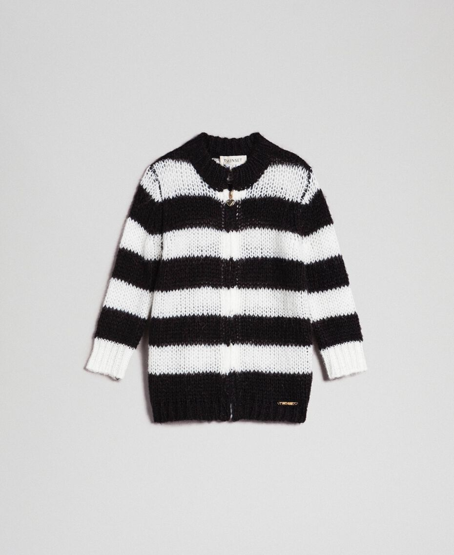 Two-tone striped mohair cardigan Black Striped Jacquard / Off White Child 192GB3130-01