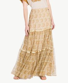 Silk skirt Yellow Macro Paisley Print Woman TS825Q-01