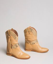 Leather ankle boots with studs Nougat Beige Woman 191TCP044-01