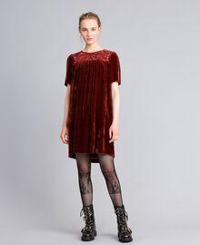 Vestido tipo túnica de terciopelo Bordeaux Mujer PA823B-01