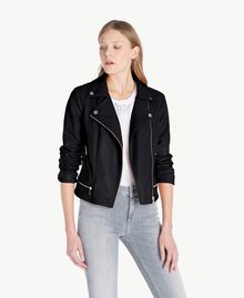 Faux leather biker jacket Black Woman JS82CC-01
