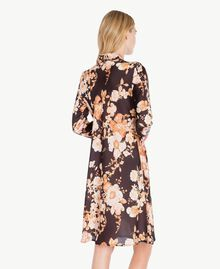 "Macro floral dress ""Nuditè"" Beige Print / Black IA7KFF-04"