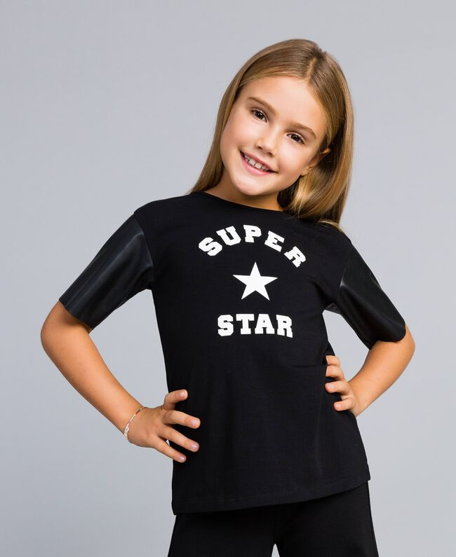 Printed cotton t-shirt Black Child GA82B3-04