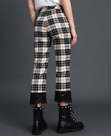 "Flared trousers in chequered wool ""Snow"" White Tartan Jacquard Woman 192TP2622-03"