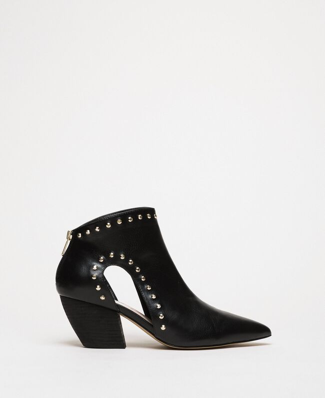 Ankle boots with cutout and studs Black Woman 201MCP080-03