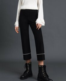 Flared trousers with pearl embroidery Black Woman 192TP2082-03