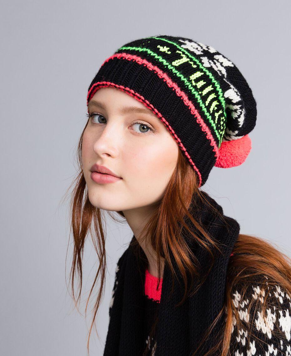 Jacquard knit hat with logo Black Woman QA8TLC-0S