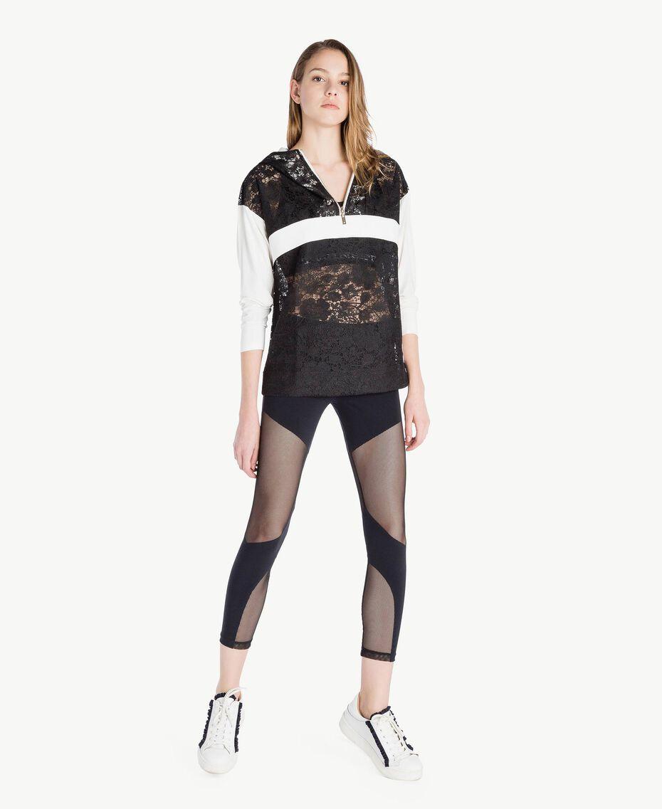 Sweat-shirt dentelle Bicolore Noir / Blanc Optique Femme LS89AA-02