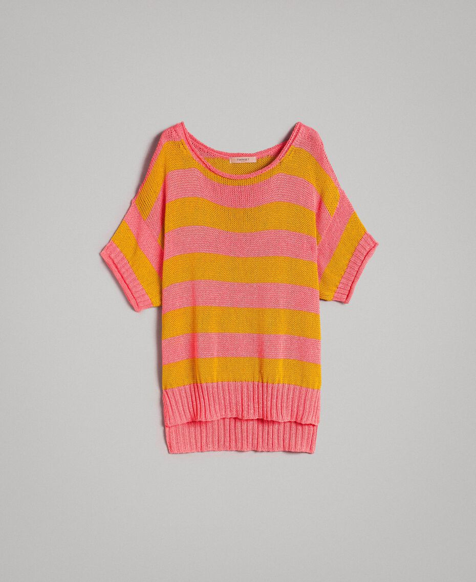 """Maxi jumper with slits """"Coral Geranium"""" Red / """"Honey Gold"""" Striping Woman 191TT3150-0S"""