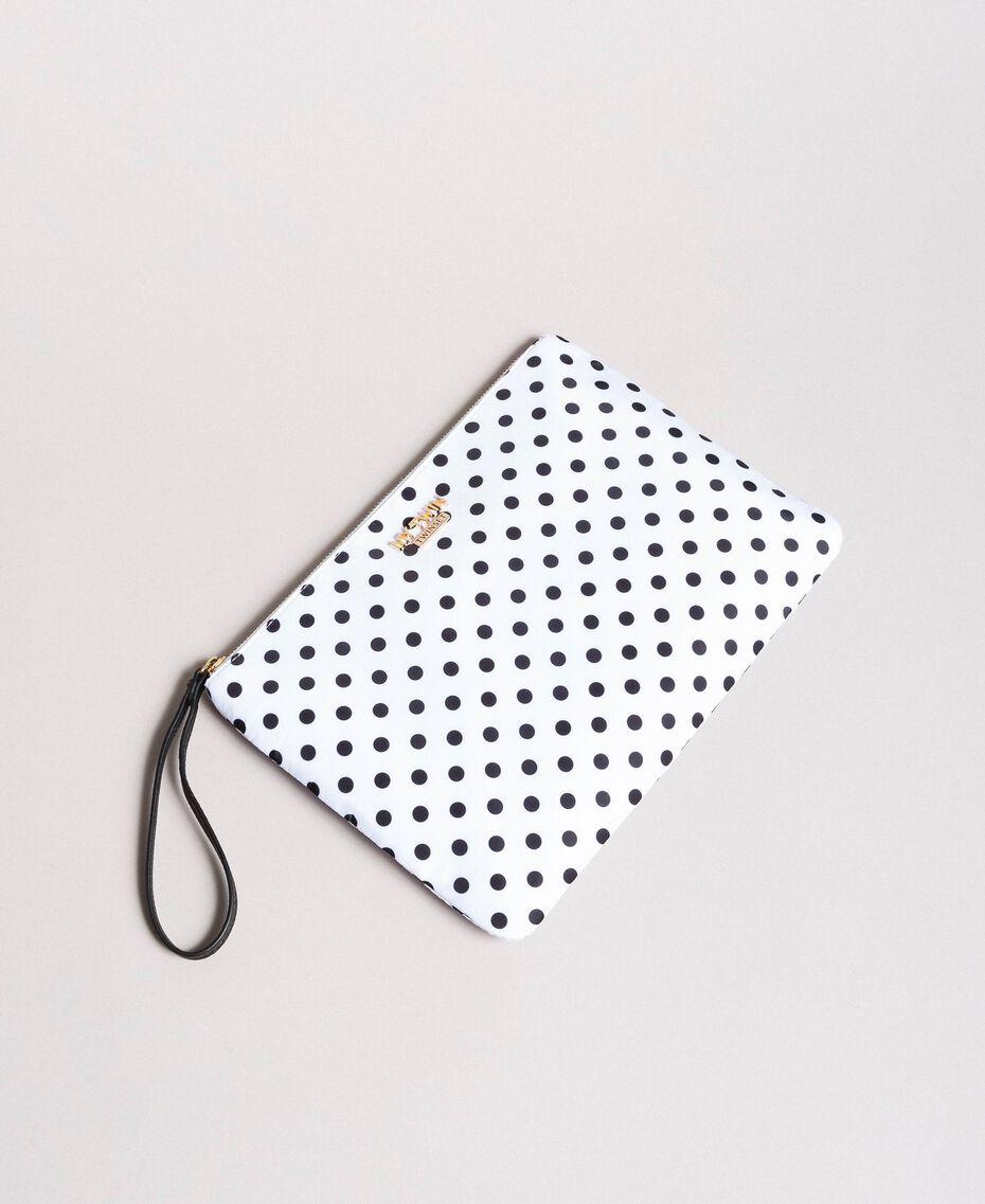Pochette en tissu technique à pois Imprimé À Pois Blanc / Noir Femme 191MA7123-02