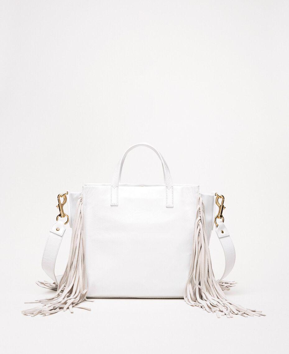 Borsa shopper media in pelle con frange Bianco Neve Donna 201TO8141-03