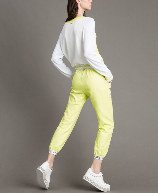 """Jumper with lace-effect print Two-tone Optical White / """"Lemon Juice"""" Yellow Woman 191LL36BB-03"""