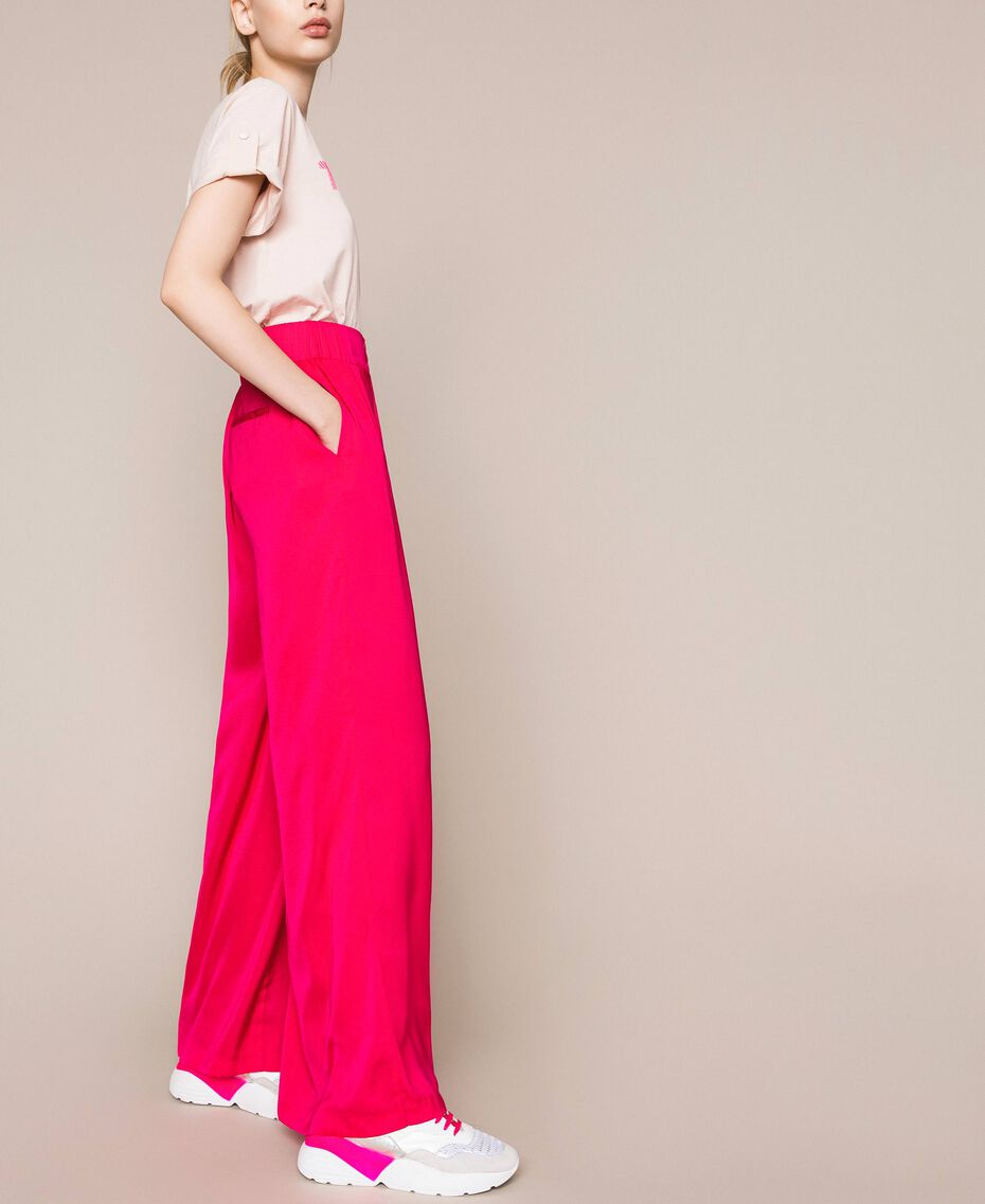 Flowing satin palazzo trousers Wild Rose Woman 201MT2032-02