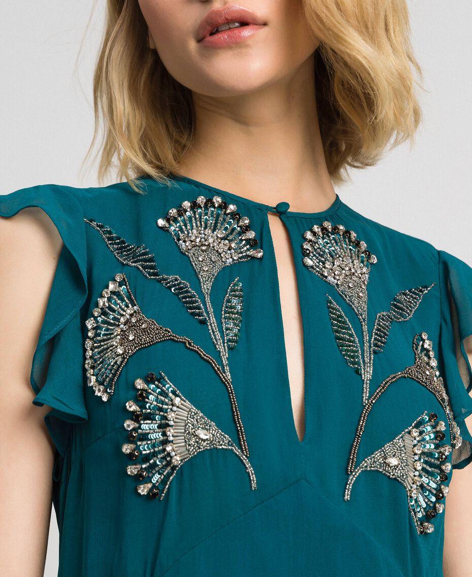 Robe longue en crêpe georgette avec broderies florales Bleu Vert minéral Femme 192TP2161-05