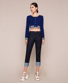 "Contrasting trim cropped cardigan Multicolour ""Ultramarine"" Blue /""Hemp"" Beige / Vanilla Woman 201MP3051-0T"