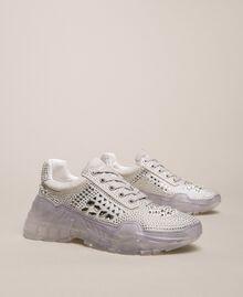 Chaussures de running en cuir velours et strass Blanc Femme 201MCT042-04