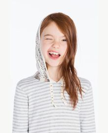 Maxi sweat-shirt dentelle Rayure Blanc Papyrus / Gris Mélangé / Chantilly Enfant GS82UA-05