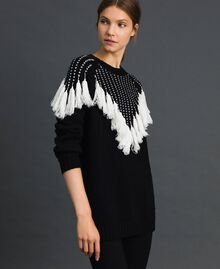 "Maxi jumper with jacquard yoke and fringes Black / ""Vanilla"" White Woman 192MT3240-02"