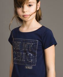 T-shirt in cotone stretch con strass Indaco Bambina 191GJ2462-04