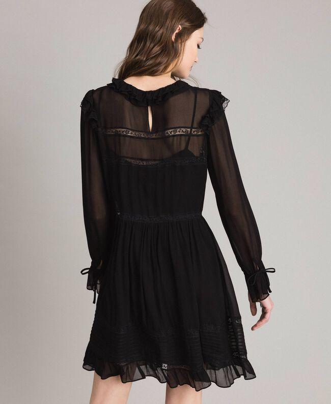 Robe en crêpe georgette et dentelle Noir Femme 191TP2127-04