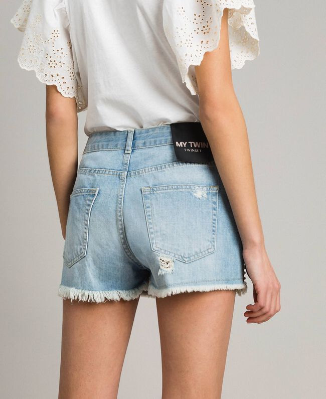Destroyed jeans shorts with rhinestones and stones Denim Blue Woman 191MT2181-03