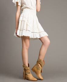 Leather ankle boots with studs Nougat Beige Woman 191TCP044-0S