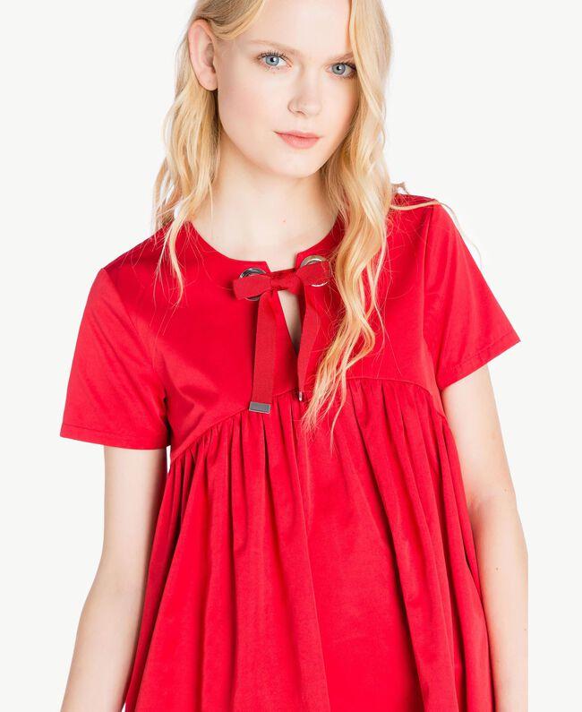 Asymmetrisches Kleid Hochrot Frau JS82QS-04