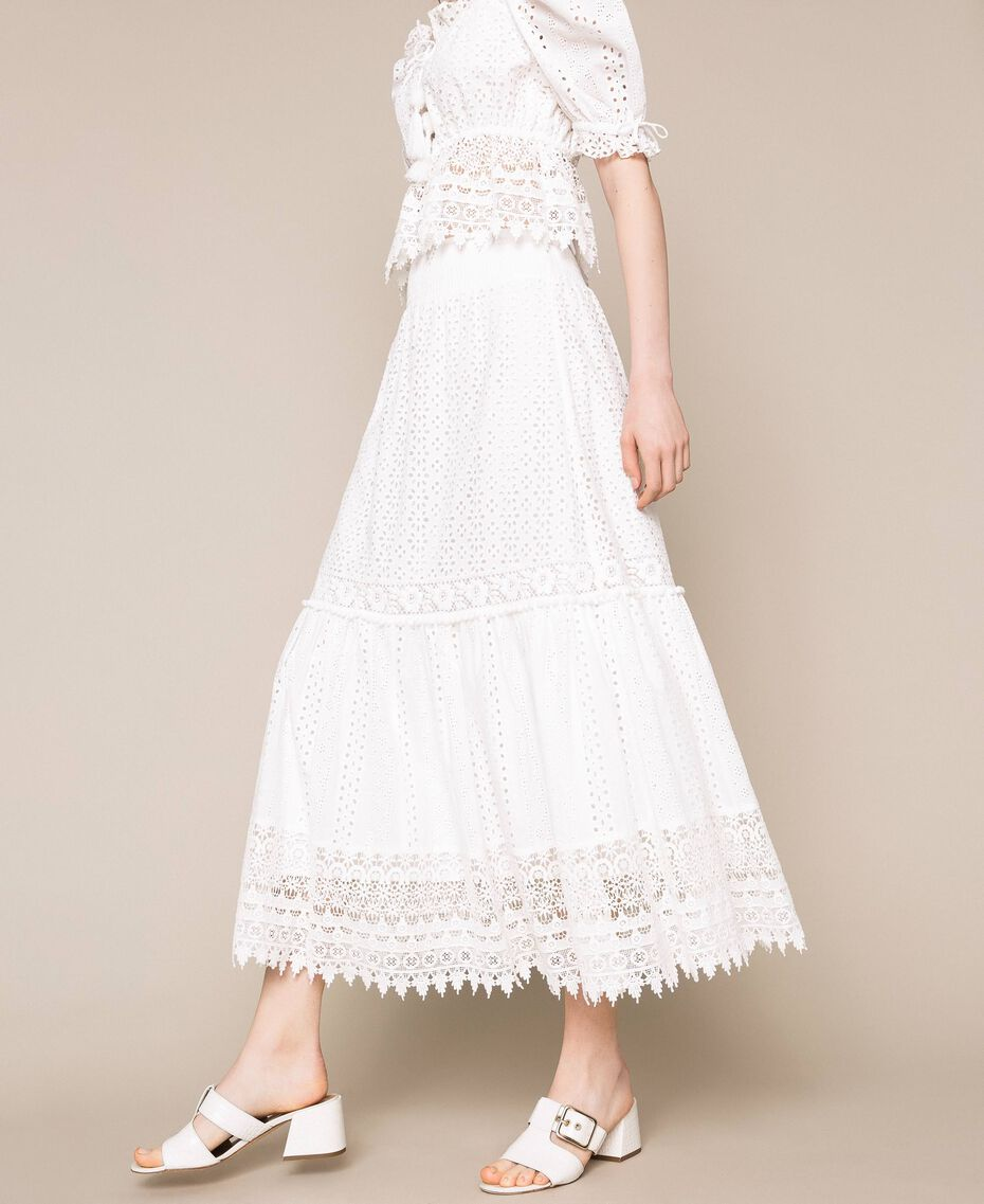 Broderie anglaise long skirt with lace White Woman 201LM2LJJ-01
