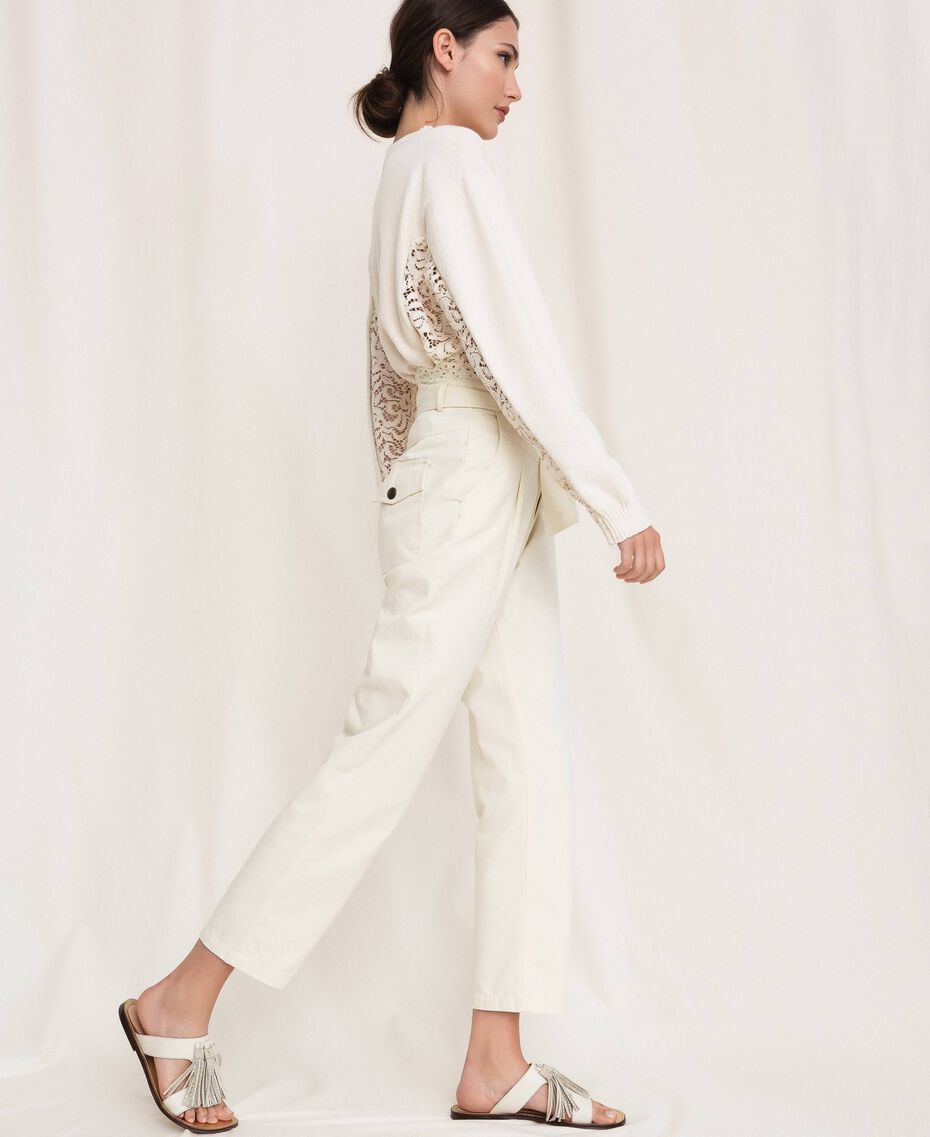 "Canvas trousers with broderie anglaise ""Dune"" Beige Woman 201TP2015-02"