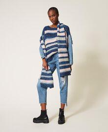 Трикотажная кофта с джинсовыми рукавами Разноцветный Смешанный Синий Трикотаж / Светлый Деним женщина 202MP3466-0T